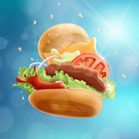 Flying Burger Blue Bokeh Background EPS10.