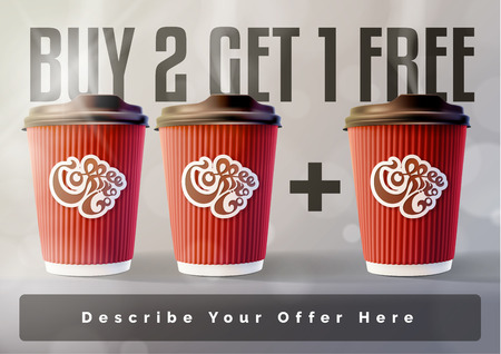 Coffee 2 plus 1 Banner Concept Grey Background. Vector EPS10 Vettoriali