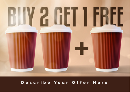Buy two get one free coffee concept illustration.