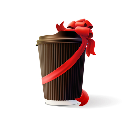 Coffee ripple cups with red bows on white background illustration.