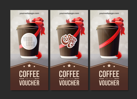 Coffee to go vouchers coffee ripple cup with a red ribbon vector.