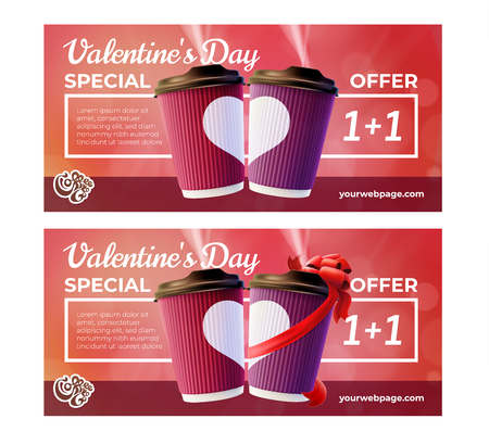 Coffee to Go Valentine's Day Flyers Concept. Vector EPS10 Stock Illustratie