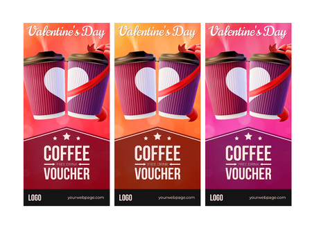 Coffee to Go Valentines Day Vouchers Concept