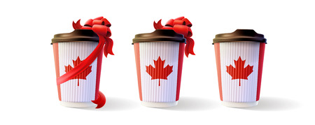 Coffee Ripple Cup with a Red Bow and Canadian Flag