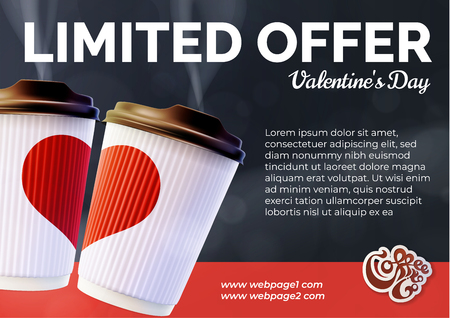 Coffee to Go Valentine's Day Banner Concept.