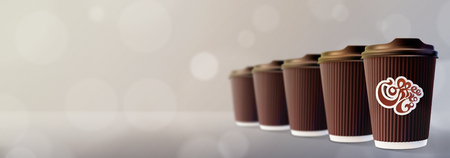 Coffee to Go. Coffee Ripple Cups Bokeh Gray Background Фото со стока