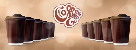 Coffee to Go Ripple Cups with icon. Bokeh Cappuccino Background