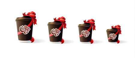 Coffee ripple cups with ribbons 4 sizes.