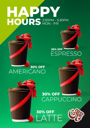 Coffee to Go Happy Hours Discount Poster Иллюстрация
