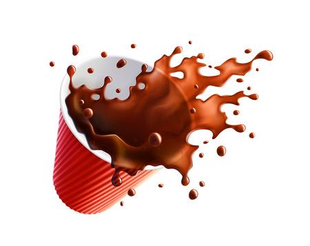 Black Coffee Splash in a Plastic Ripple Cup. Vector EPS10 일러스트