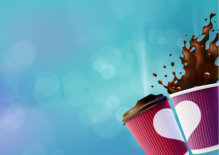 Coffee Love Poster Template. Pink and Violet Ripple Cups with a White Heart and Splash on a Blue Sky Background.