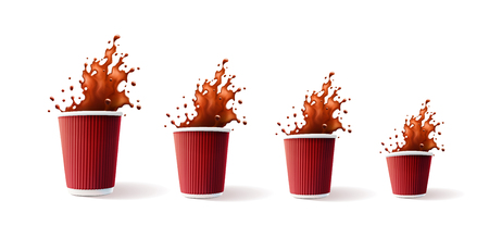 Coffee Red Ripple Cups with Splash 4 sizes. Vector illustration.