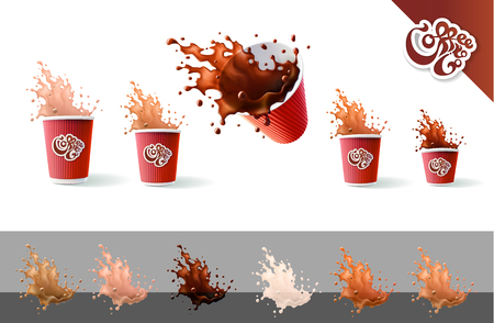 Coffee To Go. Coffee and Milk. Red Ripple Cups and Splashes Isolated on a White Background. 矢量图像