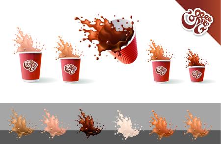 Koffie om mee te nemen. Koffie en melk. Rode rimpel bekers en spatten geïsoleerd op een witte achtergrond. Stockfoto - 99345941