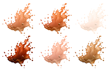 Coffee and Milk Splashes Isolated on a White Background. 6 Variations. Vector EPS10 Stock Photo