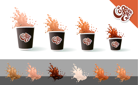 Coffee To Go. Coffee and Milk. Ripple Cups and Splashes Isolated on a White Background