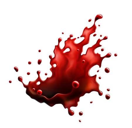 Blood Red Splash Isolated on a White Background