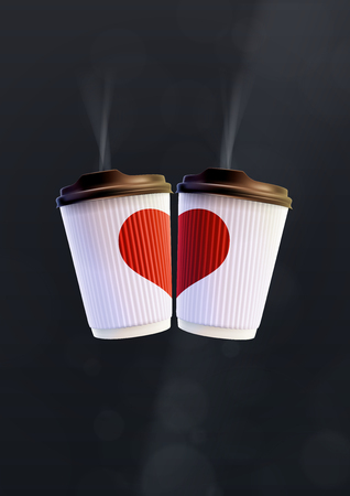 Coffee Love Poster Template. White Ripple Cups with a Red Heart on a Black Background