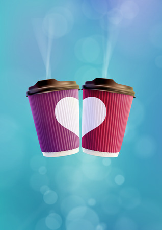 Coffee Love Poster Template. Pink and Violet Ripple Cups with a White Heart on a Blue Sky Background Archivio Fotografico