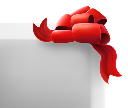 Red Bow on a White Box. Isolated Object Ilustrace