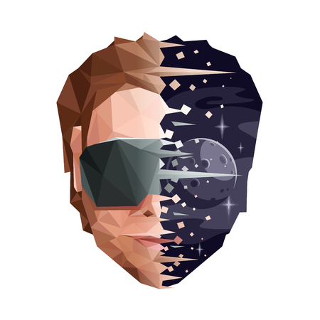 Low Poly Virtual Reality Concept. Vector EPS10