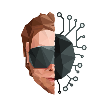 Low Poly Artificial Mind Network Concept V2. Vector EPS10