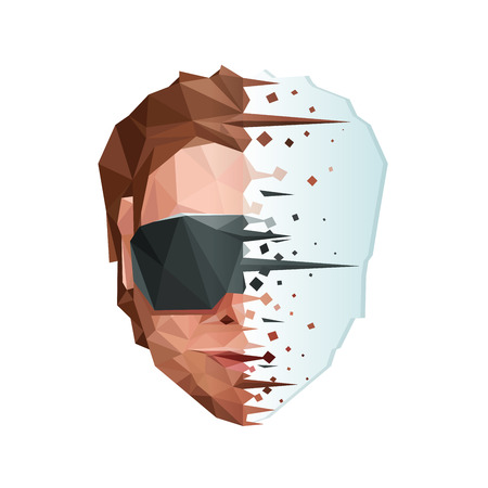 Low Poly Artificial Mind Concept. Vector EPS10