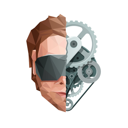 Virtual Reality Concept. Face with Glasses and Gears. Vector EPS10 矢量图像