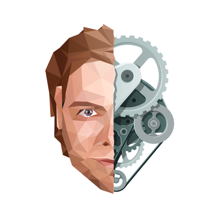 Artificial Mind Concept. Face and Gears. Vector EPS10