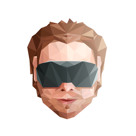Virtual Reality Concept. Low Poly Head with Glasses. Vector EPS10 矢量图像