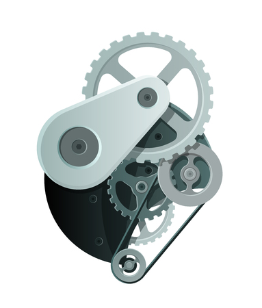 Abstract Mechanism with Metal Gears and Wheels. Vector EPS10