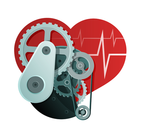 Heart Health Abstract Illustration. Mechanism and Heart Shape 矢量图像