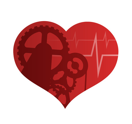 Heart Health Abstract Illustration. A Heart-shaped Mechanism With Gears and Cardiogram