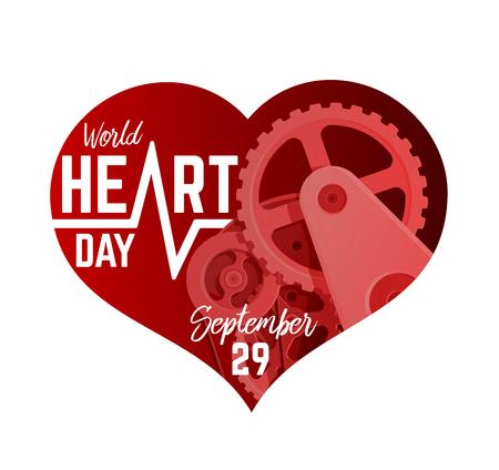 World Heart Day September 29th Illustration. Mechanism in a Heart Shape 矢量图像