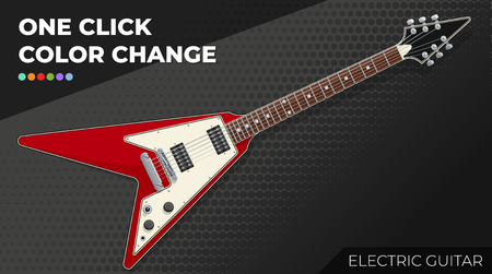 Electric Guitar. Isolated and Layered Object, Easy Color Change Stock Illustratie