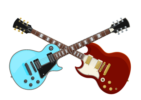 Guitar Battle Concept. 2 Electric Guitars Crossed. Isolated Vector Objects. EPS10 矢量图像