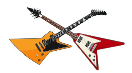 Guitar Battle Concept. 2 Electric Guitars Crossed. Isolated Vector Objects. EPS10 Illustration