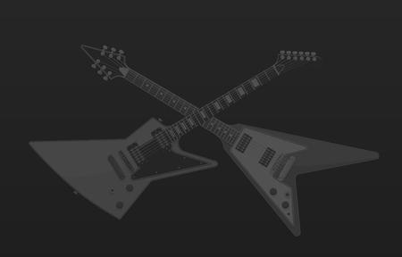 Crossed Electric Guitars Dark Background