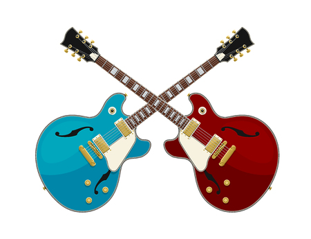 Guitar Battle Concept. 2 Guitars Crossed. Isolated Vector Objects. EPS10