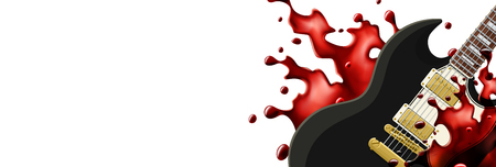 Black metal guitar with a blood splash banner template with white background. Vector EPS10