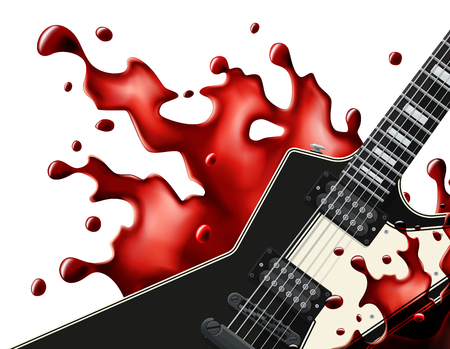 Black metal guitar with a blood splash isolated