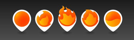 Burning Pins. 5 variations. Isolated Vector Objects. Vector EPS10 矢量图像