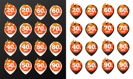 Hot Discount Burning Pins. Black and White Versions, 32 variations. Isolated Vector Objects.