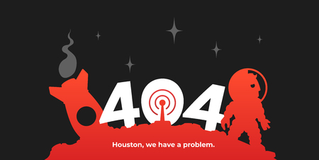 Cosmonaut and his rocket on an asteroid. 404 error page template.