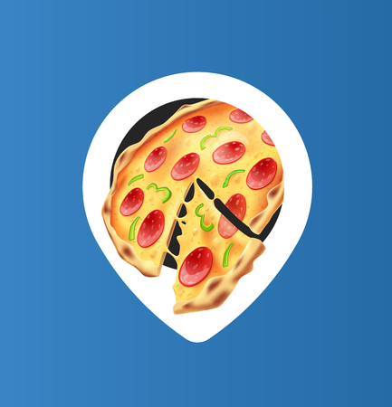 White Pizza Location Pin. Isolated Vector Object. EPS10