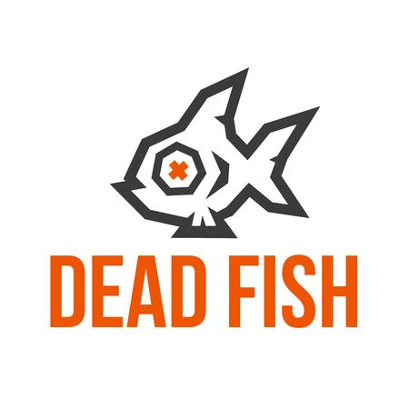 Dead Fish Studio low poly logo. 2 Colors.