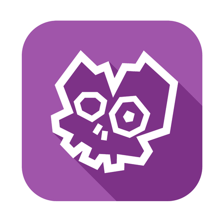 Low Poly Broken Skull Icon. White silhouette on violet background