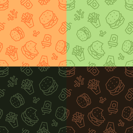 Fast food low poly seamless patterns. Light and dark, 4 variations.