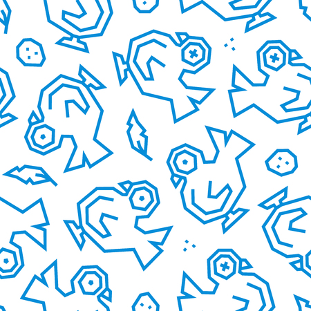 Pigeons, feathers and eggs low poly seamless pattern. Blue lines on white background.