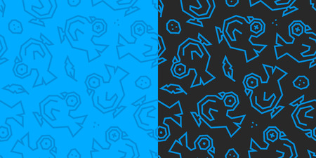 Pigeons, feathers and eggs low poly seamless pattern. Black and blue background, 2 versions. 矢量图像